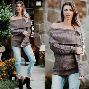 Sweaters - Off Shoulder Mocha Foldover Sweater